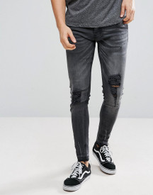 Brave Soul Skinny Fit Ripped Raw Edge Jeans afbeelding
