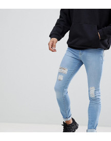Brooklyn Supply Co Ripped Light Wash Hunter Spray On Jeans With Distressing afbeelding