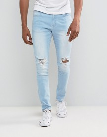 Brooklyn Supply Co Skinny Jeans Bleached Bashed Knee With Rips afbeelding