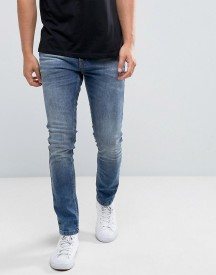 Brooklyns Own Super Skinny Jeans In Mid Wash Blue afbeelding