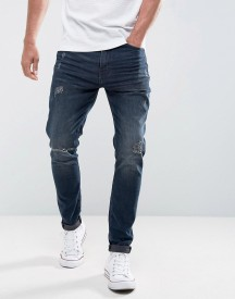Casual Friday Regular Fit Jeans With Distressing In Dark Blue Wash afbeelding