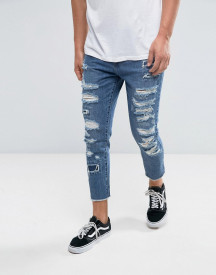 Cayler & Sons Skinny Jeans In Blue With Distressing And Raw Hem afbeelding