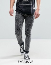 Cayler & Sons Skinny Jeans With Distressing In Acid Wash afbeelding