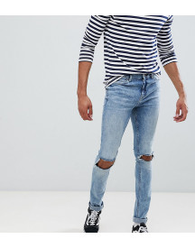 Cheap Monday Tight Ripped Knee Skinny Jeans Shift Blue afbeelding