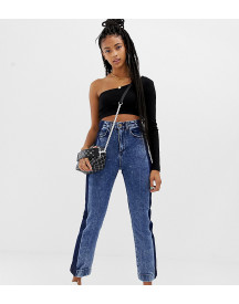 Collusion Straight Leg Jeans In Acid Wash With Contrast Panel afbeelding