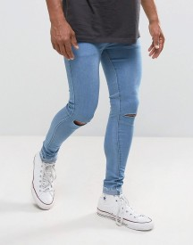 Criminal Damage Super Skinny Jeans With Knee Rips And Raw Hem afbeelding