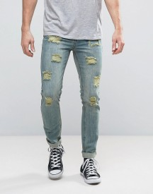 Dead Vintage Skinny Fit Jeans With Destroy afbeelding