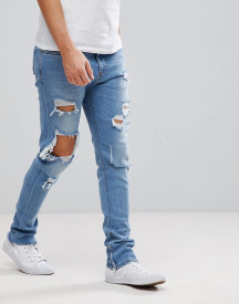 Diesel Deepzip Lightwash Jeans With Rips afbeelding