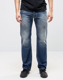 Diesel Larkee Straight Fit Jeans 0859y Dark Wash Abraisons afbeelding