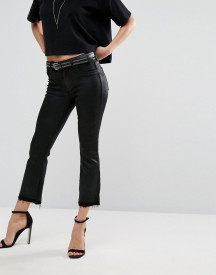 Dl1961 Lara Coated Cropped Bootcut Jean With Raw Frayed Hem afbeelding