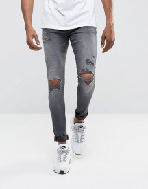 Dml Jeans Super Skinny Spray On Jeans With Busted Ripped Knees In Grey afbeelding