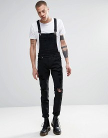 Dr Denim Ira Skinny Ripped Dungaree Jeans In Black afbeelding