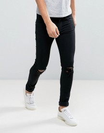 Dr Denim Leroy Super Skinny Jeans Black Ripped Knees afbeelding