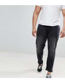 Duke King Size Tapered Fit Jeans In Grey Stonewash With Stretch afbeelding