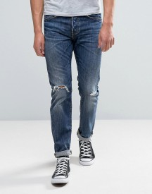 Edwin Ed-80 Slim Tapered Jeans Contrast Dark Wash Rips afbeelding