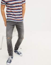 Esprit Stretch Skinny Fit Jeans In Grey With Knee Rips afbeelding