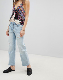 Free People Rolling On The River Distressed Straight Cropped Jeans afbeelding