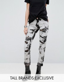 Glamorous Tall Boyfriend Jeans In Bleach Wash afbeelding