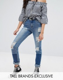 Glamorous Tall Patchwork Distressed Boyfriend Jean afbeelding