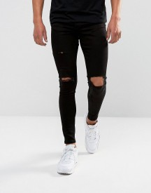 Gym King Super Skinny Jeans In Black With Distressing afbeelding