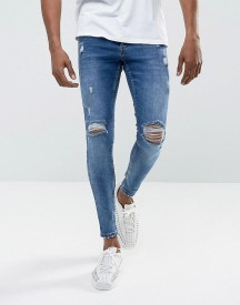 Gym King Super Skinny Jeans In Midwash Blue With Distressing afbeelding