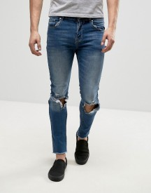 Heros Heroine Skinny Fit Jeans In Blue With Raw Hem afbeelding