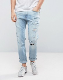 Hollister Cropped Skinny Jeans Destroyed In Light Wash afbeelding