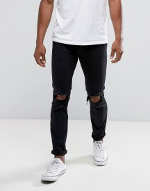 Hollister Jeans Skinny Fit Destroyed Black Wash afbeelding