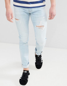Hollister Skinny Distressed Ripped Jeans In Light Wash afbeelding