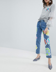 House Of Holland Cross Patch Boyfriend Jeans afbeelding