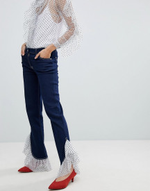 House Of Holland Tulle Frill Hem Boyfriend Jeans afbeelding