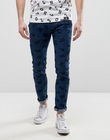 House Of Holland X Lee Lettering Luke Skinny Jeans Mid Wash afbeelding