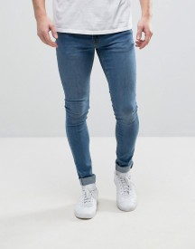 Hoxton Denim Extreme Skinny Jeans In Mid Wash Blue afbeelding
