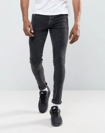 Hoxton Denim Super Skinny Jeans In Black Acid Wash afbeelding