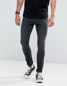 Hoxton Denim Super Skinny Jeans In Washed Black With Chain afbeelding