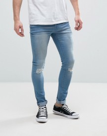 Hoxton Denim Super Skinny Mid Wash Jeans With Ripped Knee afbeelding