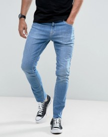 Hoxton Denim Vintage Cropped Slim Fit Jeans In High Blast With Raw Hem afbeelding