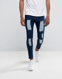 Illusive London Super Skinny Jeans In Dark Wash Blue With Distressing afbeelding