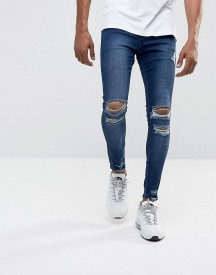 Illusive London Super Skinny Jeans In Mid Wash Blue With Distressing afbeelding