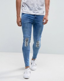 Illusive London Super Skinny Jeans In Mid Wash Blue With Knee Rips afbeelding