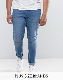 Jacamo Plus Skinny Jean With Rip Knee In Blue afbeelding