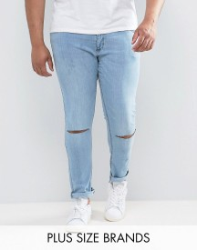 Jacamo Plus Skinny Jeans With Knee Rips In Bleach Wash afbeelding
