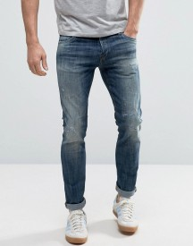 Jack & Jones Intelligence Jeans In Slim Fit Distressed Denim afbeelding