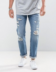 Jack & Jones Intelligence Tapered Fit Jeans With Distress Detail afbeelding