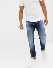 Jack & Jones Jeans In Tapered Fit Washed Blue Denim afbeelding
