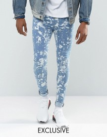 Jaded London Super Skinny Jeans In Mid Blue With Bleaching afbeelding
