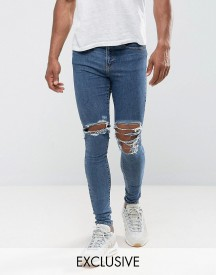 Jaded London Super Skinny Jeans In Mid Blue With Knee Rips afbeelding
