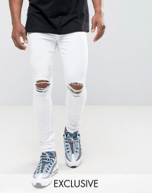 Jaded London Super Skinny Jeans In White With Knee Rips afbeelding