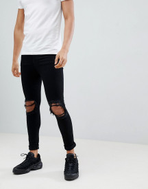 Jaded London Super Skinny Jeans With Rips In Black afbeelding
