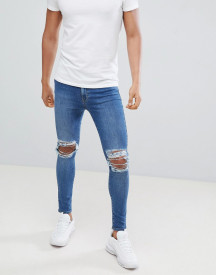 Jaded London Super Skinny Jeans With Rips In Blue afbeelding